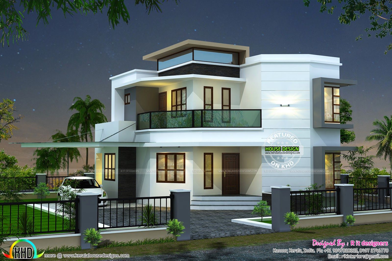 1838 sq ft cute modern house kerala home design and for Contemporary modern style house plans