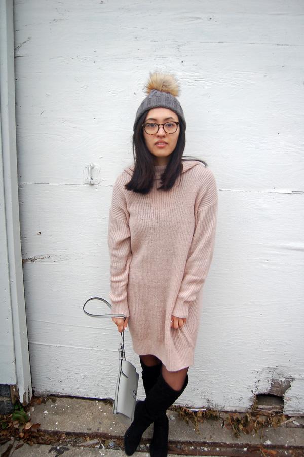 Dusty Pink Sweater Dress Pom Pom Beanie