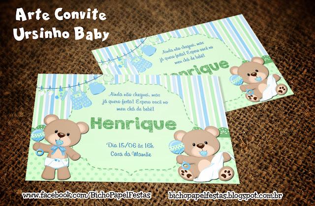 Convite Chá Bebê Ursinho azul verde