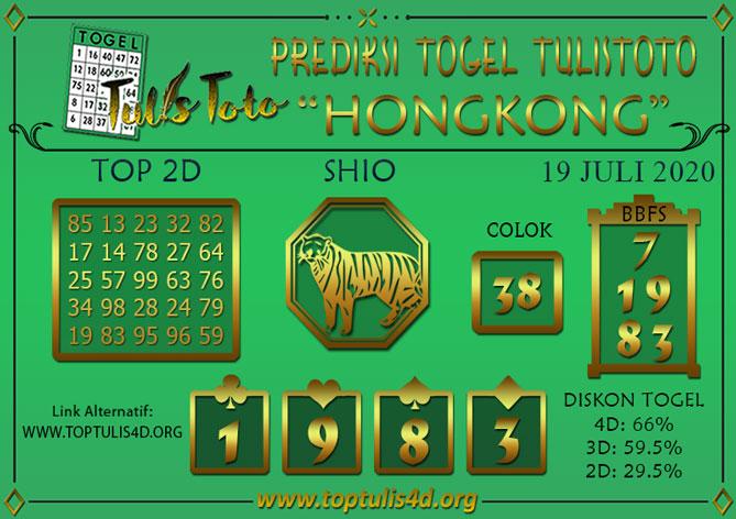 Prediksi Togel HONGKONG TULISTOTO 19 JULI 2020