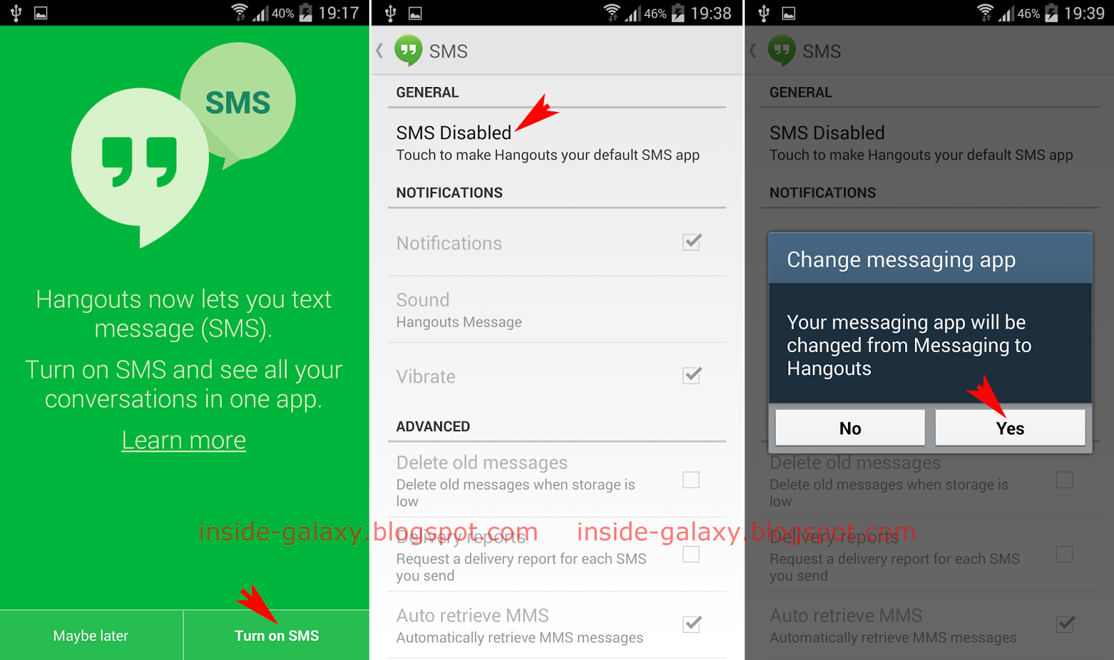 Samsung Galaxy S4: How to Enable SMS Messages in Hangouts App in