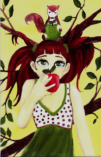 Acrylic painting of girl eating an apple