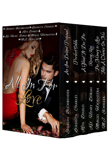 #MFRWauthor Kat Henry Doran and five author friends bet All in for Love on #Thursday13
