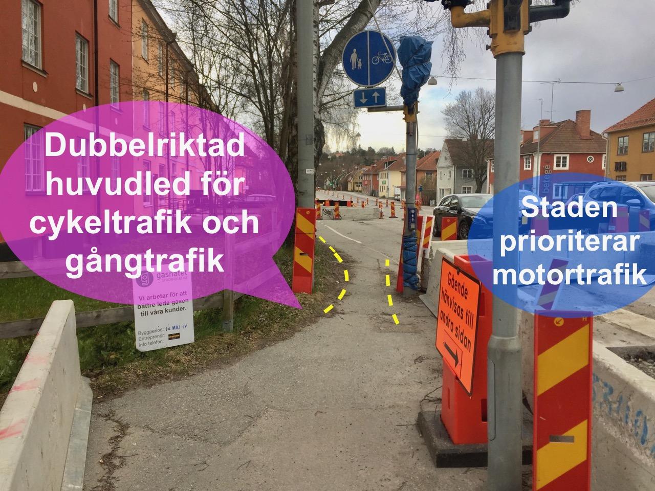 Livsfarliga skyltar mitt i cykelbanan