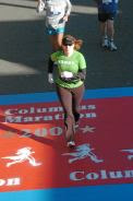 Sandy finishing the 2006 Columbus Marathon with a new PR