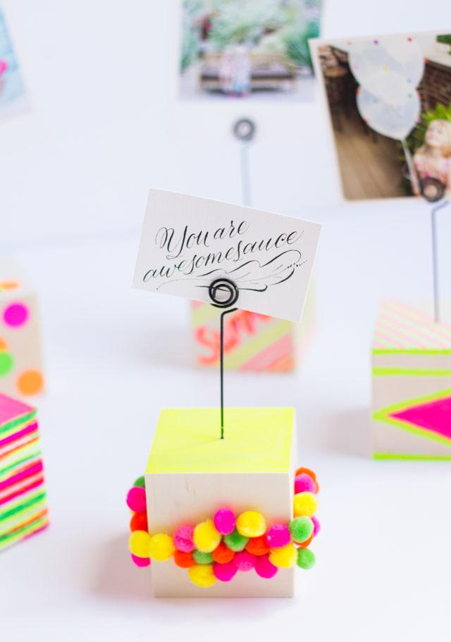 DIY wood photo blocks - use to hold snapshots or small prints!