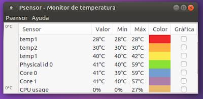 Psensor Monitor de temperatura