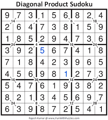 Answer of Diagonal Product Sudoku Puzzle (Daily Sudoku League #226)