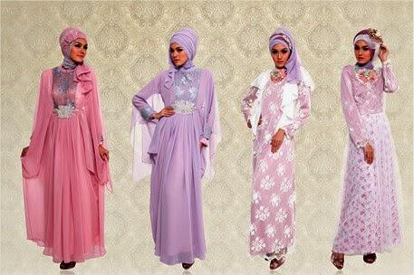 Model Gaun Pesta Muslim Modern Sifon dan Taff Terbaru
