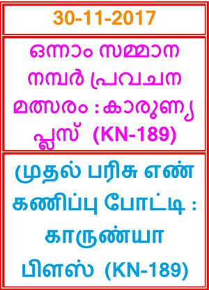 First Prize Guessing compitition KARUNYA PLUS KN-189