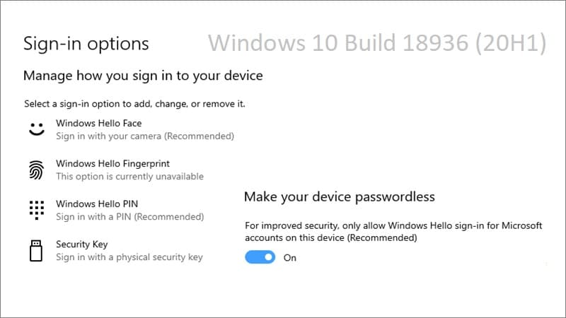 Microsoft adds new password less sign-in experience to improve security in Windows 10 Build 18936 (20H1)