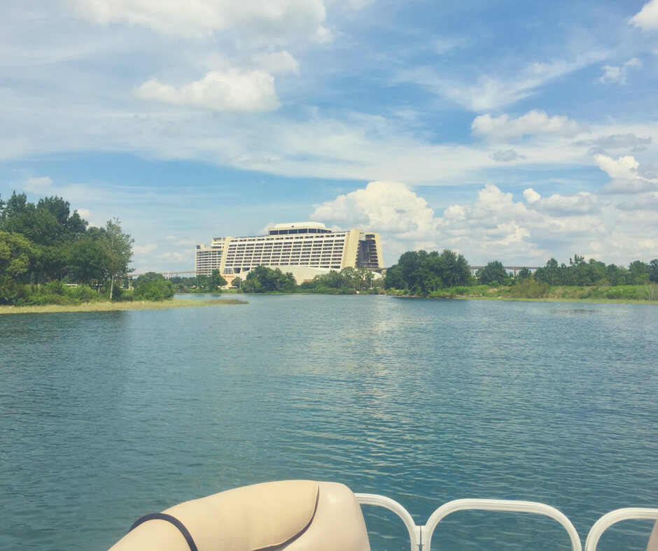 Contemporary Resort photo taken from inside a boat on the lake in Walt Disney World