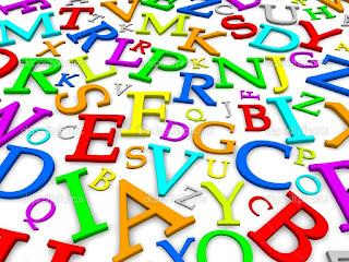 Letras coloridas em um blog
