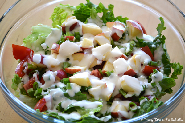 Simple Green Salad with Homemade Mayo Dressing {A Pretty Life}