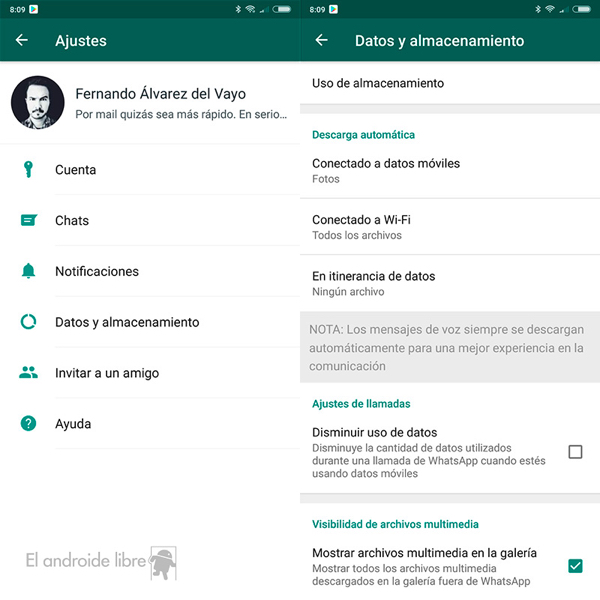 WhatsApp te permite ocultar las fotos que recibes en la galeria