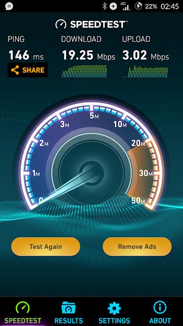 Ookla speedtest result