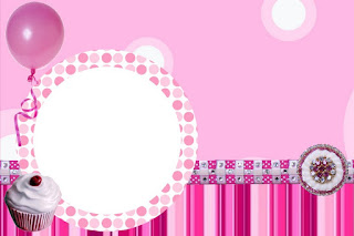 Pink Cupcakes Themed Party Free Printable Invitations, Labels or Cards.