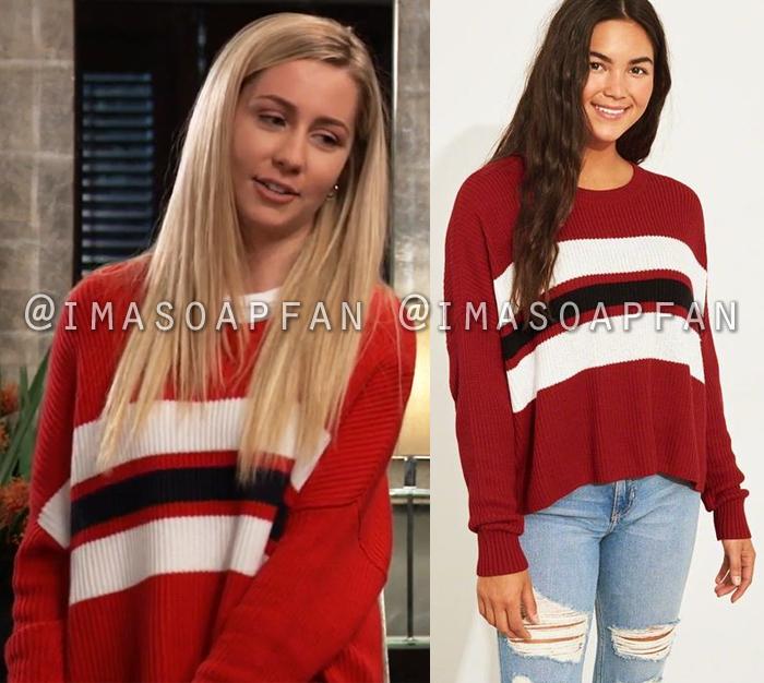 Josslyn Jacks, Eden McCoy, Red White and Black Striped Sweater, General Hospital, GH