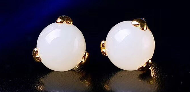 和田玉 925純銀耳環