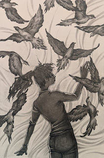 Operation Awesome #20Questions in #2020 of #NewBook Debut Author Rue Sparks - Picture from Daylight Chasers of Isabella with the Passenger Pigeons.