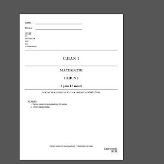 Matematik Tahun 1: Ujian 1 2016 dalam bentuk pdf