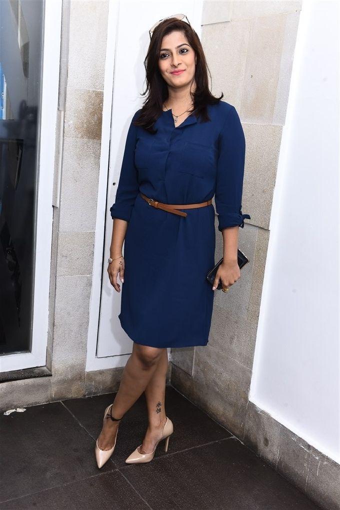 Varalaxmi Sarathkumar Cross Legs In Blue Dress