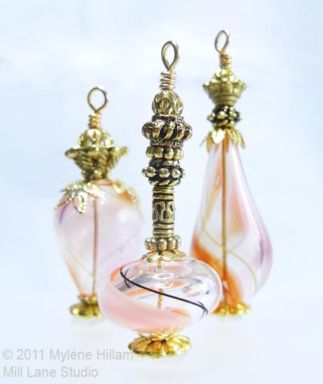 Miniature Genie bottles made from hollow glass beads and jewellery findings