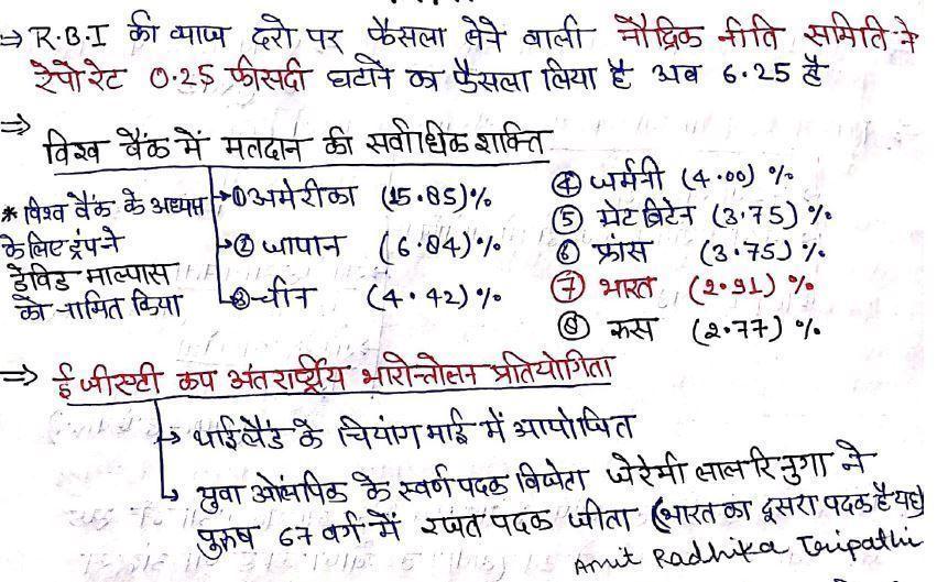 हस्तलिखित समसामयिकी दिसंबर 2018 से फरवरी 2019 हिंदी में