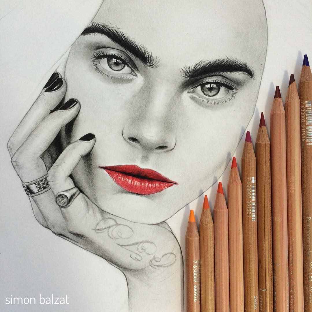 05-Cara-Delevingne-Simon-Balzat-Colored-Pencils-make-Beautiful-Drawings-www-designstack-co