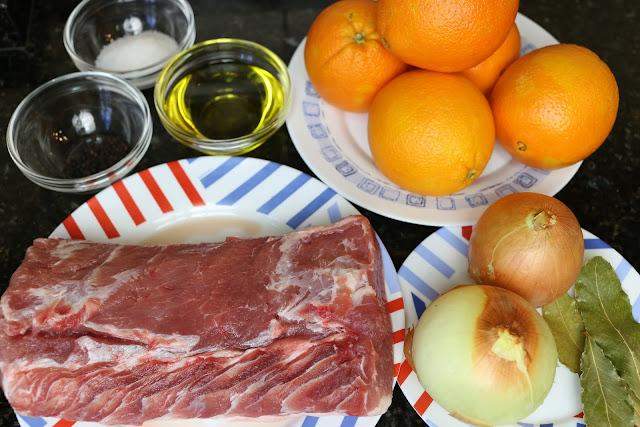 Ingredientes para lomo en salsa de naranja