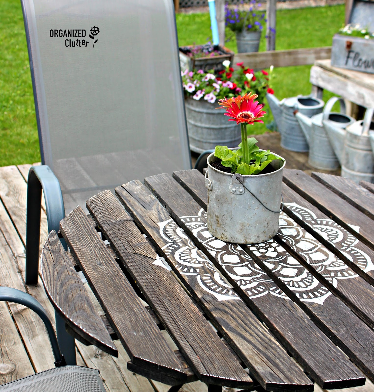 Inspirational Mandala Stenciled Bistro Table organizedclutter net