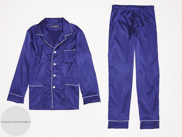 Mens dark blue satin silk pajamas set traditional