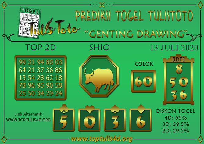 Prediksi Togel GENTING DRAWING TULISTOTO 13 JULI 2020