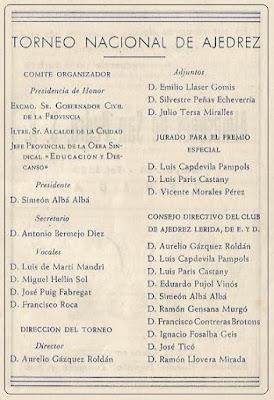 Comités del I Torneo Nacional de Lérida 1948
