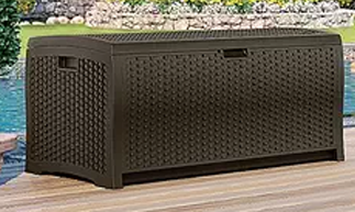 Suncast DBW7300 73-Gallon Wicker Resin Deck Box, Suncast Storage Boxes, Suncast Vertical Deck Boxes, Suncast Elements, Suncast Storage Cube, Suncast Patio Storage Box, Suncast Wicker Deck Box, Suncast Deck Box with Seat, Suncast,