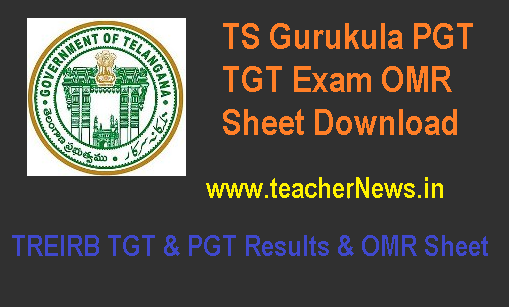 TS Gurukula PGT TGT Exam OMR Sheet/ Marks Download @treirb.org