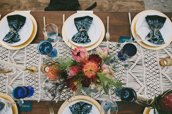 mesa de boda con macrame - decora tu boda con macrame