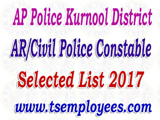 AP Police Kurnool District AR/Civil Police Constable Selection List 2017 Merit List Marks