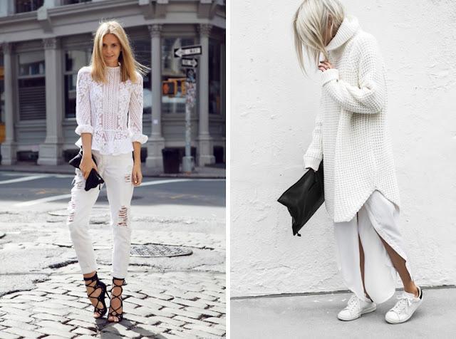 Девушки в белой одежде из денима и кружева, из шерсти и шелка