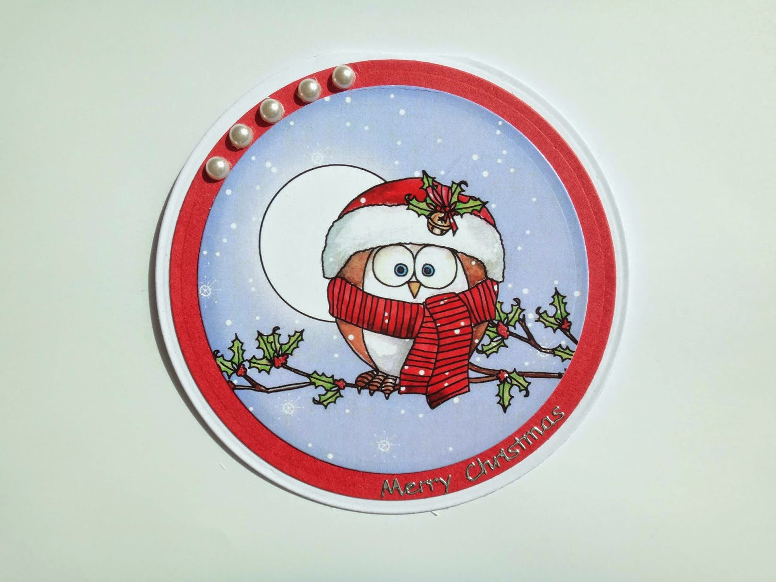 hand made round Christmas card with a cute owl topper