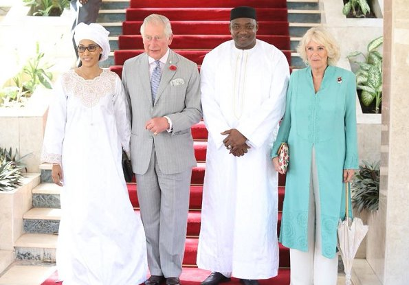 Prince Charles, President Mr. Adama Barrow and his wife Mrs. Bah-Barrow. Duchess Camilla visited the St. Therese's Upper Basic School