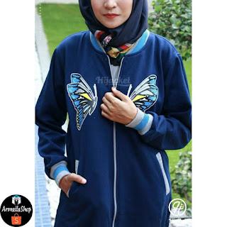 HIJACKET Butterfly Warna Navy Perium Fleece Jaket Muslimah