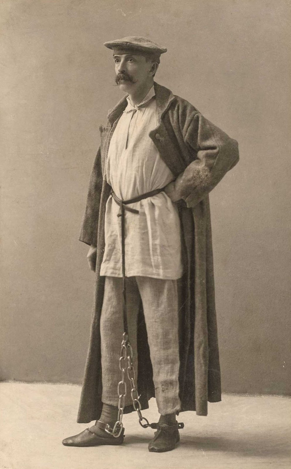Author and photographer George Kennan poses in Siberian exile dress, each piece given to him by an exile from the dress he had worn.