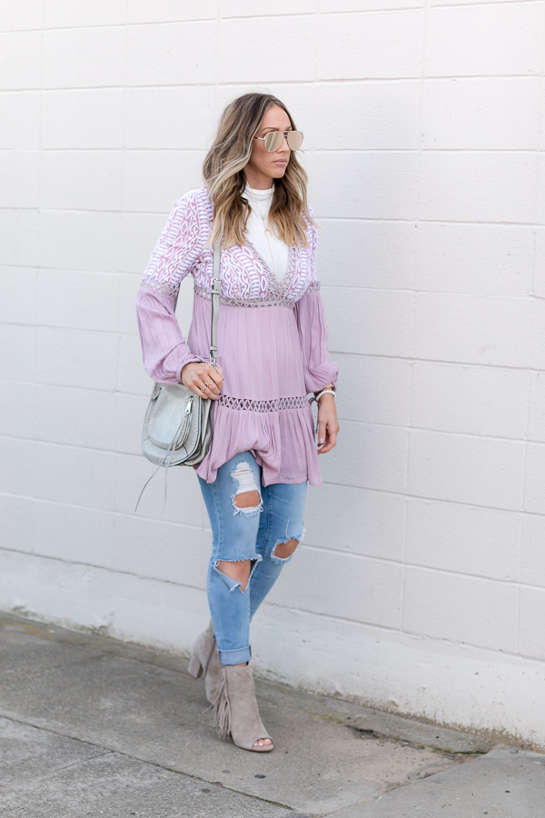 lavender dress ripped jeans