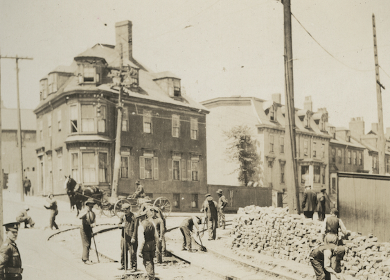 Eurocanadians installing the tram tracks on Gottingen Street at Cogswell, NS, ca. 1891