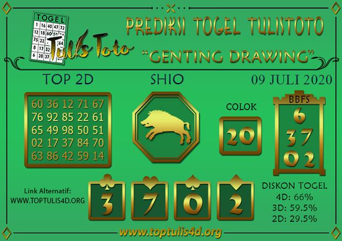 Prediksi Togel GENTING DRAWING TULISTOTO 09 JULI 2020