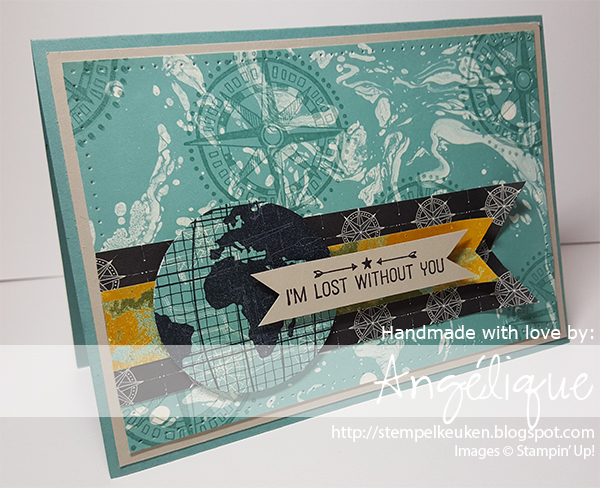 "http://stempelkeuken.blogspot.com De Stempelkeuken 2"" Circle Punch, Archival Black, Basic Black, Going Global, Going Places DSP, Lost Lagoon, Piercing Tool, Sahara Sand, Triple Banner Punch, Updated Essentials Paper piecing"