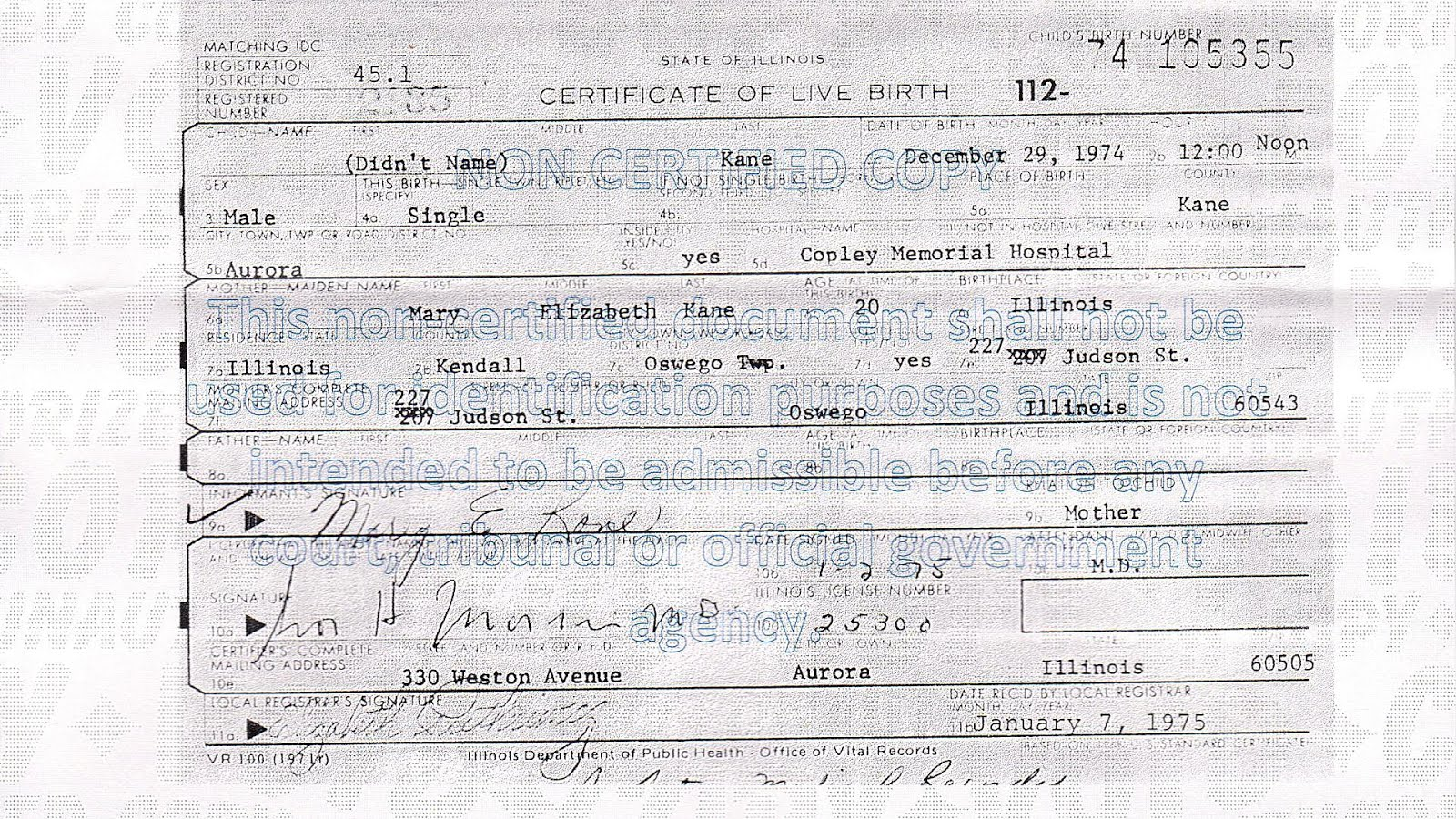 birth illinois certificate