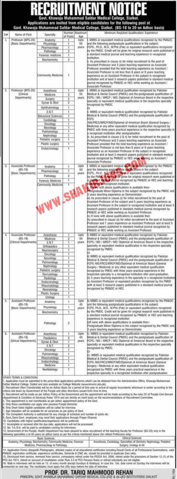 Jobs in Government Khawaja Muhammad Safdar Medical College Jobs September 2020 (147 Posts)