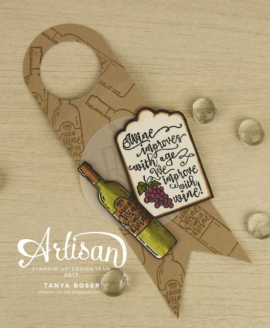 Half Full and Blends from Stampin' Up! make a fun wine bottle tag ~Tanya Boser for Inky Friends